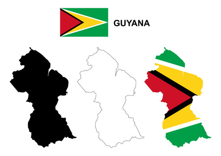 guyana: Guyana map vector, Guyana flag vector, isolated Guyana Illustration