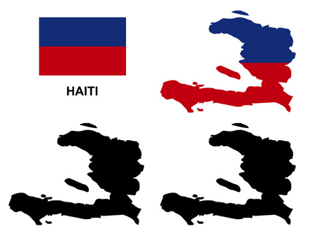shilouette: Haiti map vector, Haiti flag vector, isolated Haiti