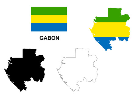 gabon: Gabon map vector, Gabon flag vector, isolated Gabon Illustration