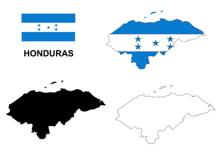 honduras: Honduras map vector, Honduras flag vector, isolated Honduras
