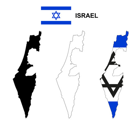 이스라엘지도 벡터, 이스라엘 플래그 벡터, 격리 된 이스라엘 일러스트