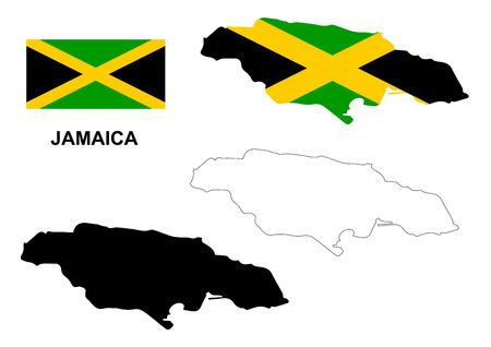 reggae: Jama�que carte vecteur, drapeau vecteur Jama�que, isol� Jama�que