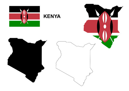 kenya: Kenya map vector, Kenya flag vector, isolated Kenya