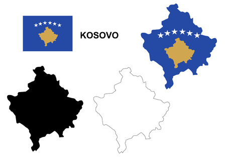 graphical chart: Kosovo map vector, Kosovo flag vector, isolated Kosovo Illustration