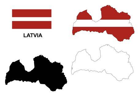 latvia flag: Latvia map vector, Latvia flag vector, isolated Latvia