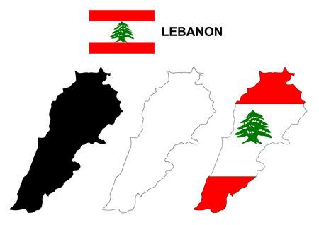 Lebanon map vector, Lebanon flag vector, isolated Lebanon