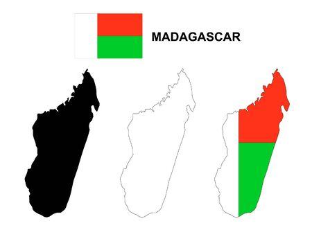 madagascar: Madagascar map and flag