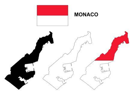 monaco: Monaco map and flag