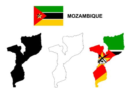 pentacle: Mozambique map and flag  Vettoriali