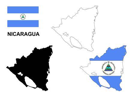 Nicaragua map and flag
