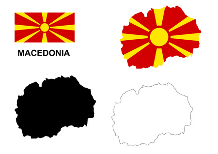 macedonia: Macedonia map and flag