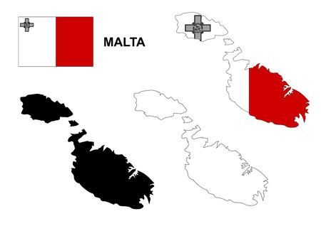 malta: Malta kaart en vlag