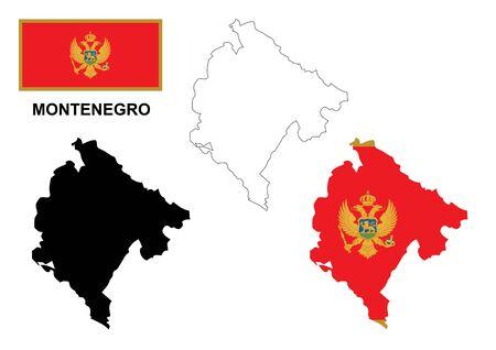 montenegro: Montenegro map and flag