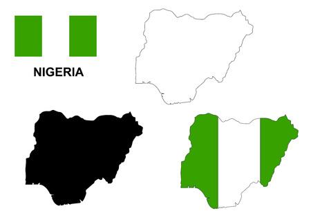 나이지리아지도 및 깃발 일러스트