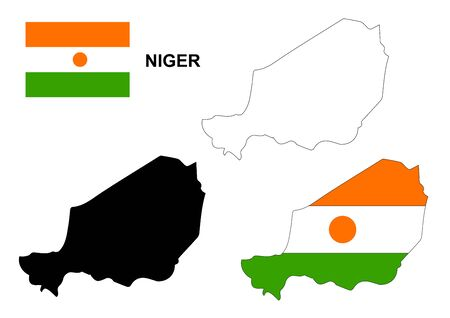 niger: Niger map and flag