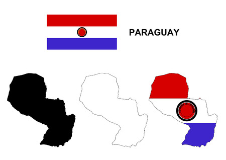 paraguay: Paraguay map and flag