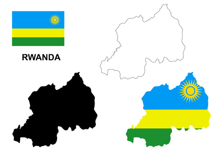 rwanda: Rwanda map and flag