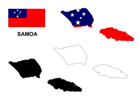 samoa: Samoa map and flag