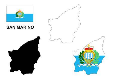 san marino: San Marino map and flag