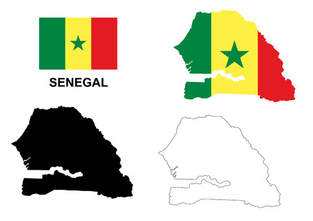 senegal: Senegal map and flag