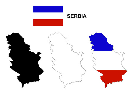cross and eagle: Serbia map and flag Illustration