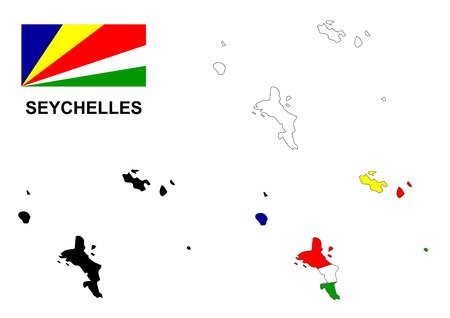 seychelles: Seychelles map and flag Illustration