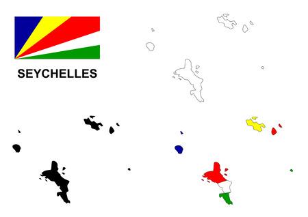 Seychelles map and flag Illustration
