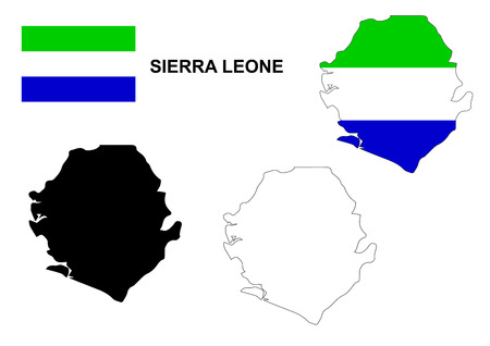 leone: Sierra Leone map and flag Illustration