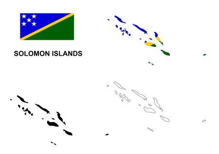 solomon: Solomon Islands map and flag