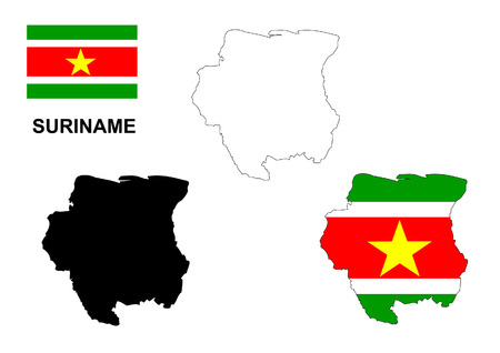 suriname: Suriname map and flag