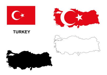 トルコ地図ベクトル、トルコ国旗ベクトル分離トルコ