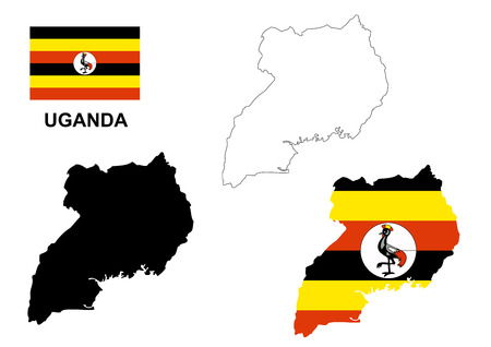 Uganda kaart vector, Oeganda vlag vector, geïsoleerde Uganda