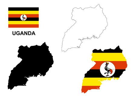 Uganda map vector, Uganda flag vector, isolated Uganda