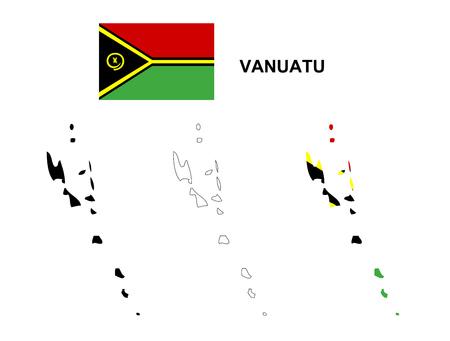 vanuatu: Vanuatu map vector, Vanuatu flag vector, isolated Vanuatu