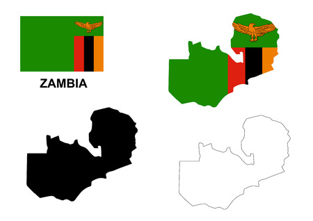 Zambia mapa vectorial, Zambia bandera vector, Zambia aislado fondo blanco Foto de archivo - 47423789