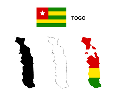 togo: Togo map vector, Togo flag vector, isolated Togo Illustration