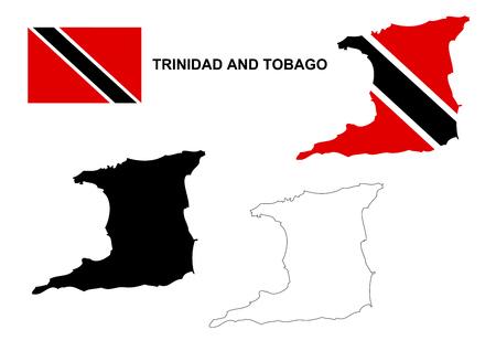 tobago: Trinidad and Tobago map vector, Trinidad and Tobago flag vector, isolated Trinidad and Tobago