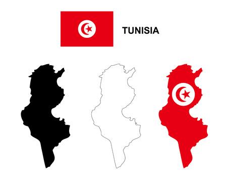 Tunisia map vector, Tunisia flag vector, isolated Tunisia Illustration