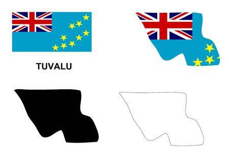 tuvalu: Tuvalu map vector, Tuvalu flag vector, isolated Tuvalu Illustration