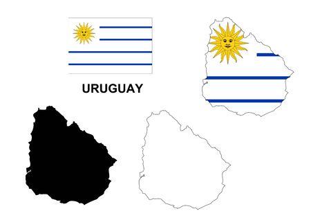 bandera uruguay: Uruguay mapa vectorial, Uruguay bandera vector, aislado Uruguay