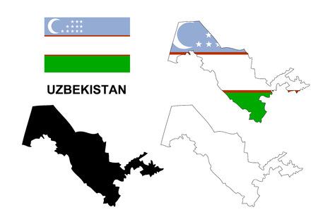 moon  metropolis: Uzbekistan map vector, Uzbekistan flag vector, isolated Uzbekistan