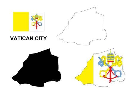 ciudad del vaticano: Ciudad del Vaticano mapa vectorial, Ciudad del Vaticano bandera vector, aislado Ciudad del Vaticano