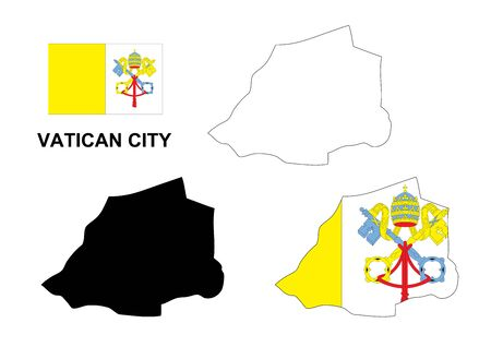 vatican city: Vatican City map vector, Vatican City flag vector, isolated Vatican City