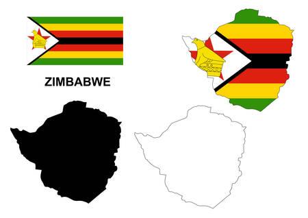zimbabwe: Zimbabwe map vector, Zimbabwe flag vector, Zimbabwe isolated white background Illustration