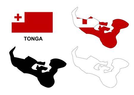 tonga: Tonga map vector, Tonga flag vector, isolated Tonga Illustration