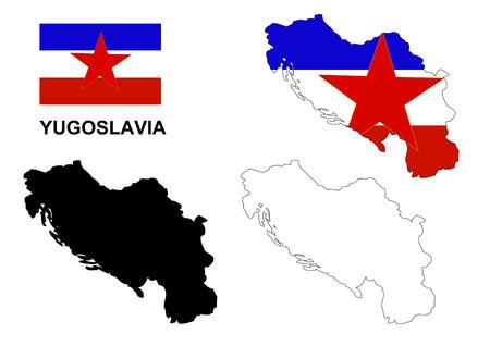 former yugoslavia: Yugoslavia map vector, Yugoslavia flag vector, Yugoslavia isolated white background Illustration