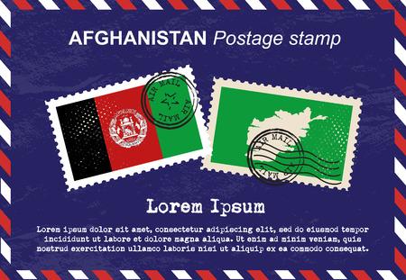 postage stamp: sello de Afganistán, sello, sello de la vendimia, el correo aéreo sobre.