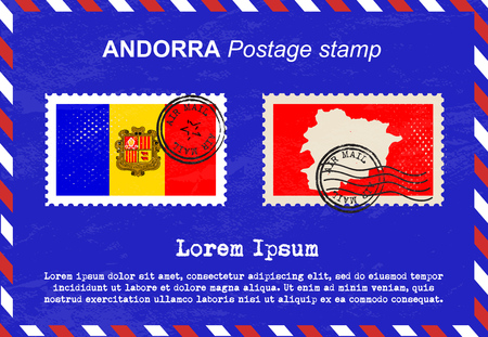 sello postal: Andorra sello de franqueo, sello, sello de la vendimia, el correo a�reo sobre. Vectores