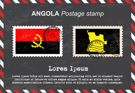 postage stamp: Angola postage stamp, postage stamp, vintage stamp, air mail envelope. Illustration