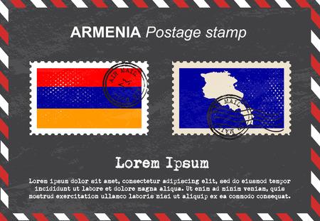 postage stamp: Armenia postage stamp, postage stamp, vintage stamp, air mail envelope.